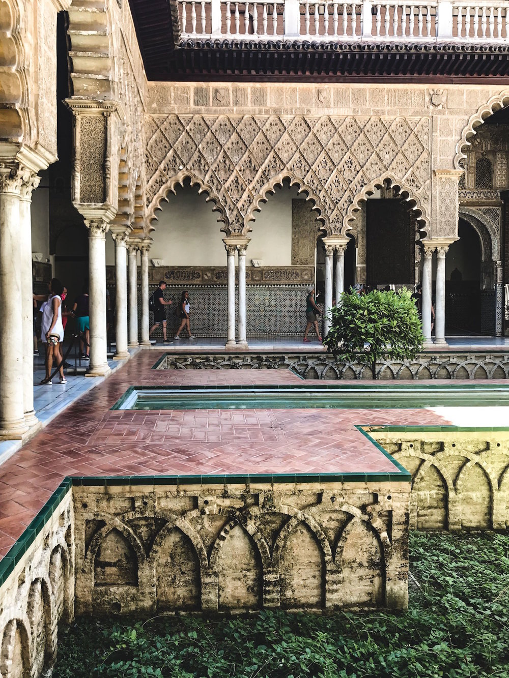 Courtyard of the Maidens at the Alcázar in Seville, Spain