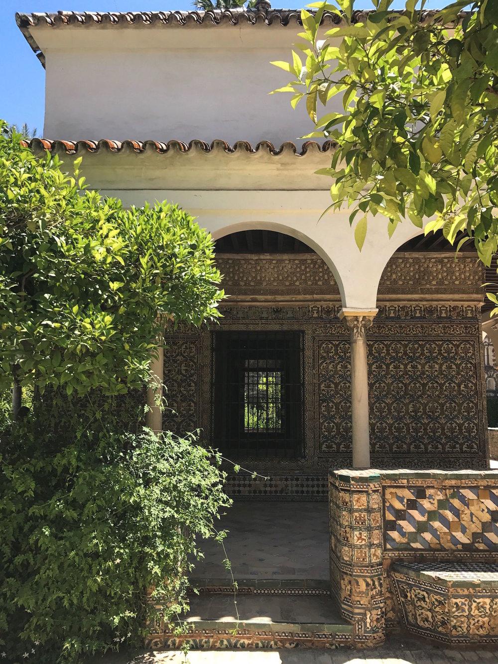 Alcazar Seville Spain garden building