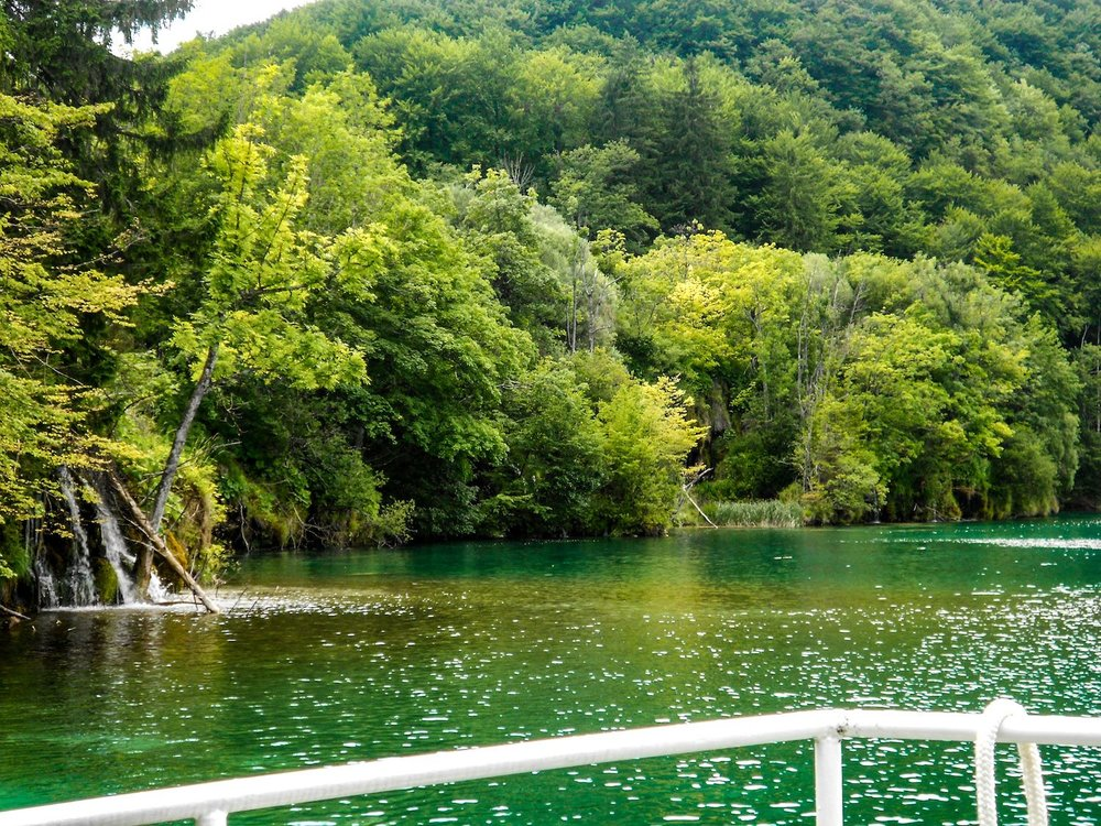 boating on the lake at Plitvice National Park in Croatia