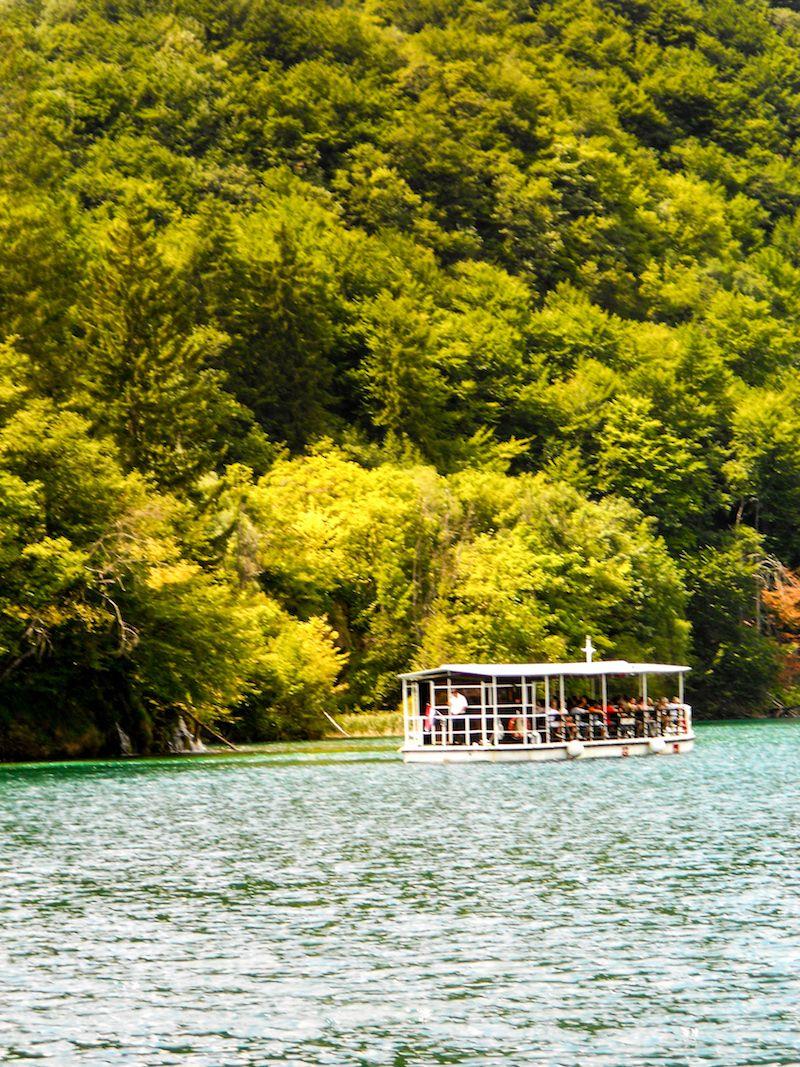 boat in Plitvice Lakes National Park