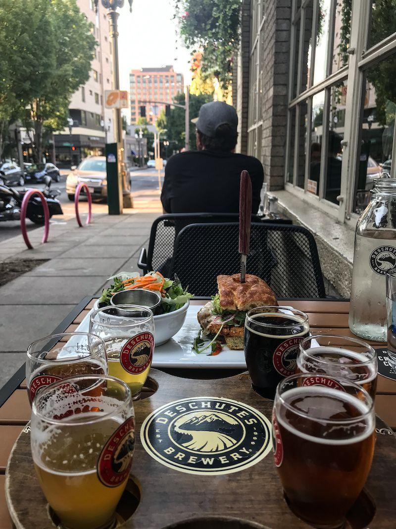 Beer flight & dinner at   Deschutes Brewery
