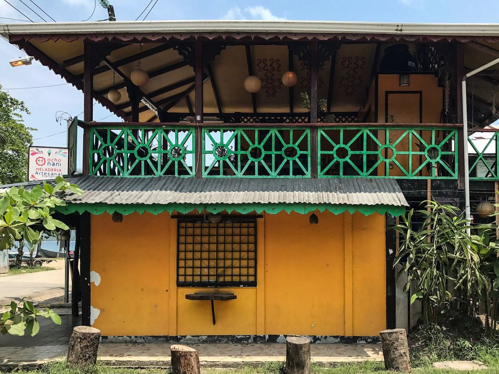 Puerto Viejo Costa Rica yellow building