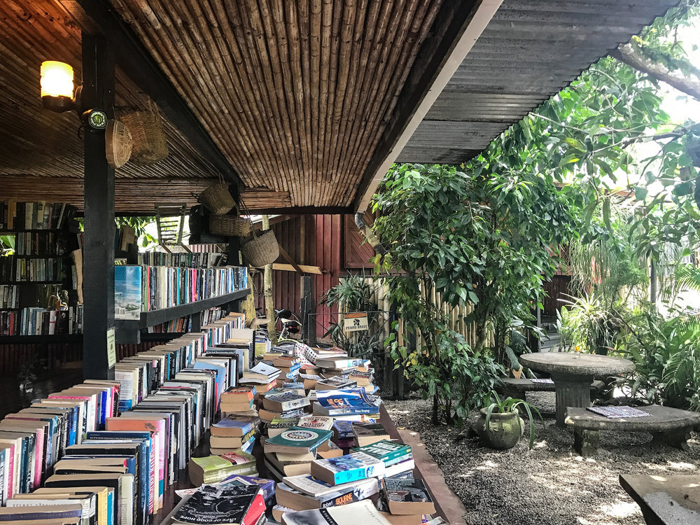 books at Cafe Rico in Puerto Viejo Costa Rica