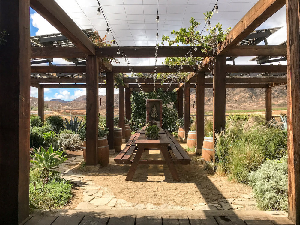 Rooftop tasting room at La Carrodilla Winery, Valle de Guadalupe, Mexico