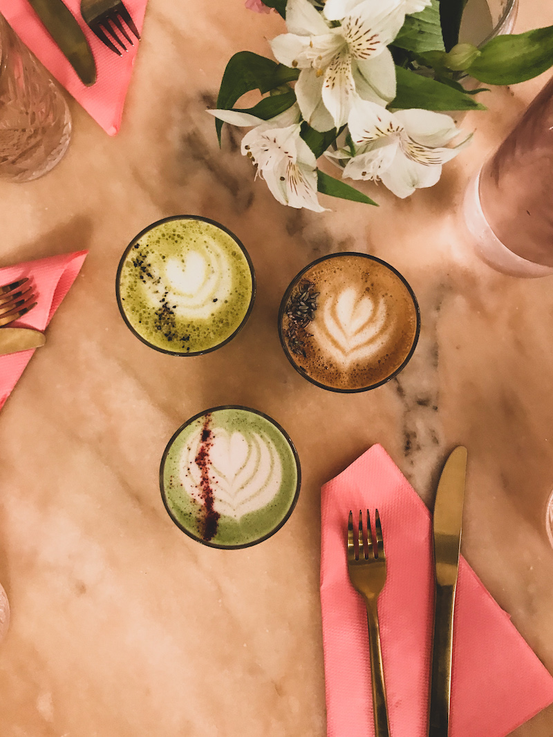 matcha lattes at palm vaults in London