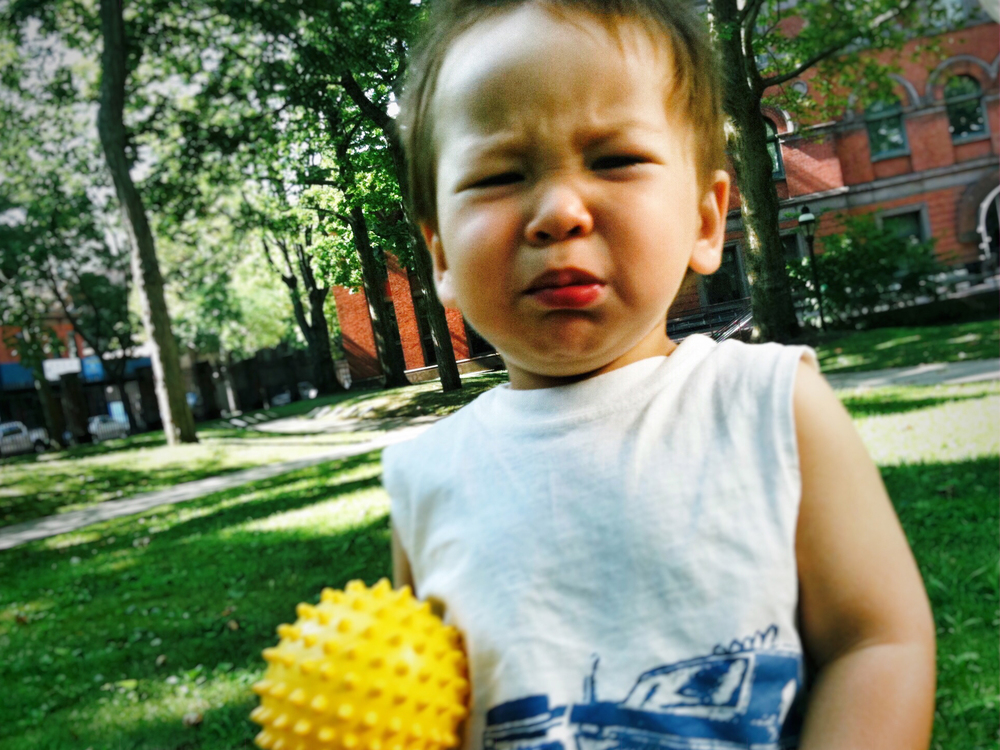 "Liam as a toddler: """"Mommy didn't bring the blue ball so I'm stuck with this stinky yellow one!"""