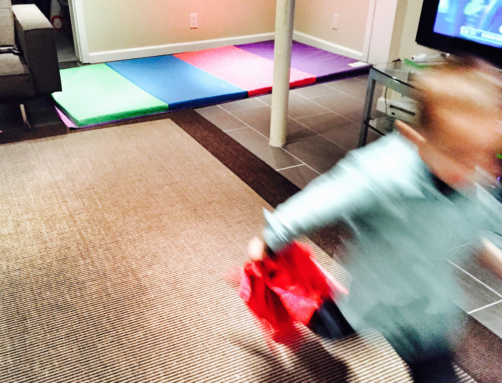 Or to capture kids in motion. Here I kept my camera still so my child was blurred.