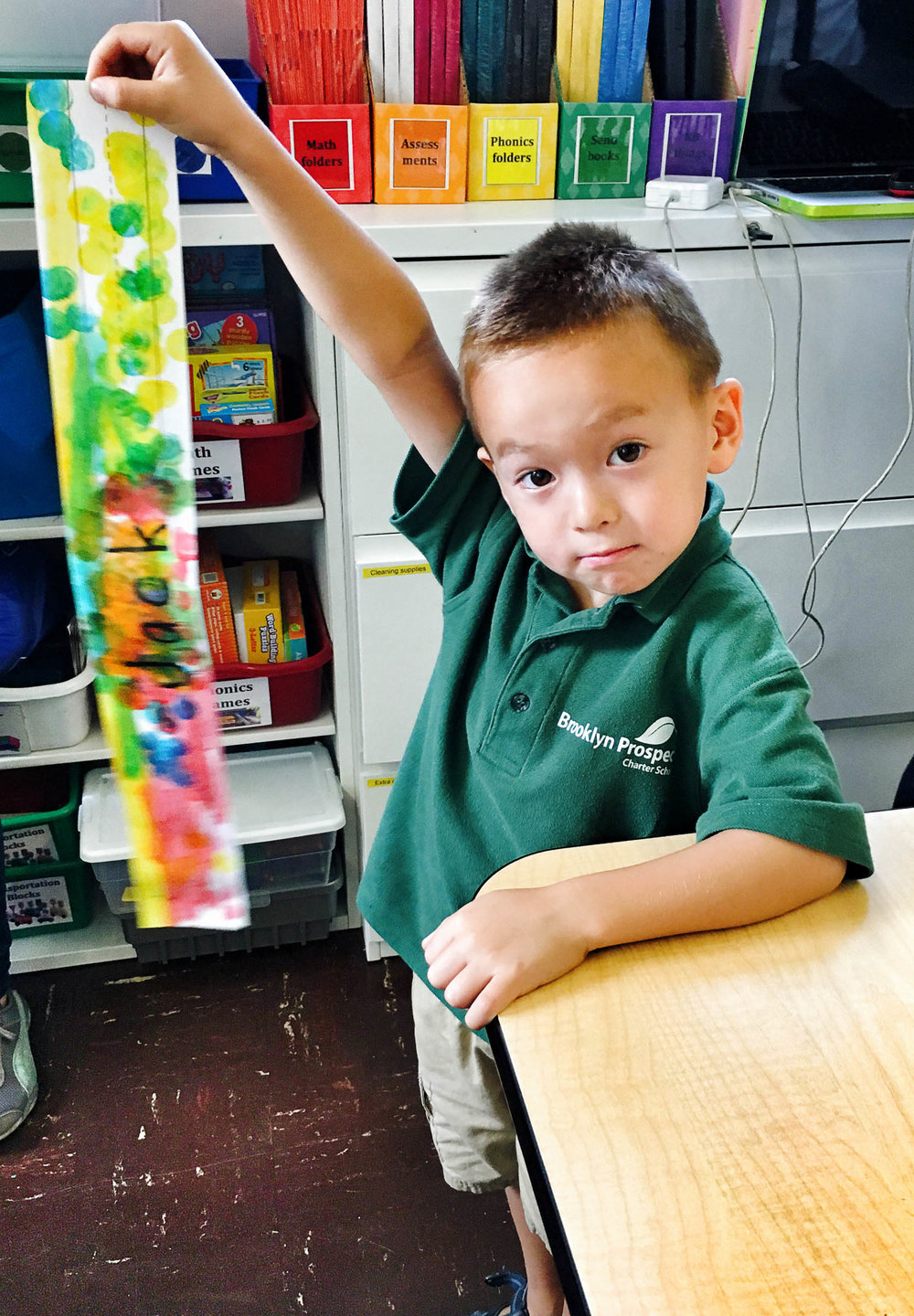 "In the end, this was my favorite ""first day of kindergarten"" photo of Jack, even though I had better quality photos on my DSLR. His ""I nailed it"" posture and expression were what I most wanted to remember about the day."