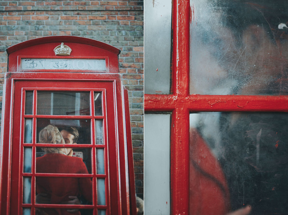 Red phone box engagement photo