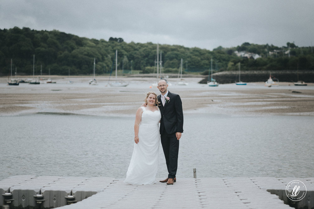 Wedding photo on the jetty in Deganwy