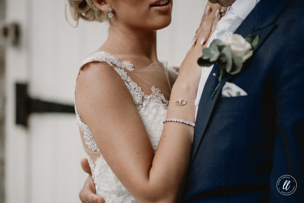 Close up portrait of couple getting married at Ruthin Castle