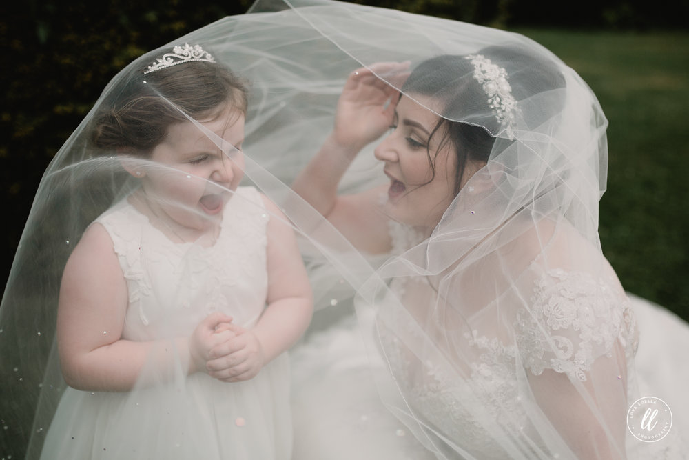 A fun Bride and Daughter portrait