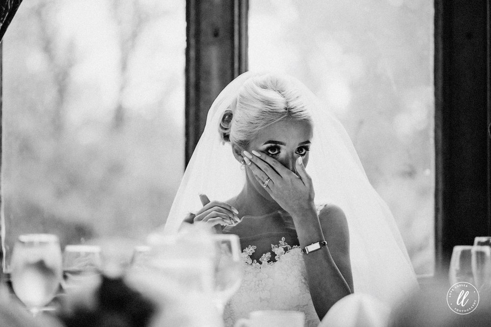 Bride Crying To An Emotional Speech At A Ruthin Castle Wedding