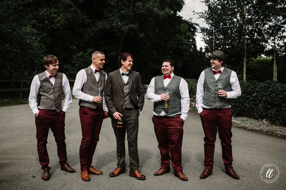 Groomsmen having a drink