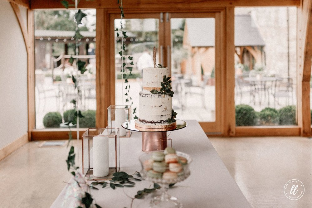 Side View Of The Rose Gold Wedding Cake