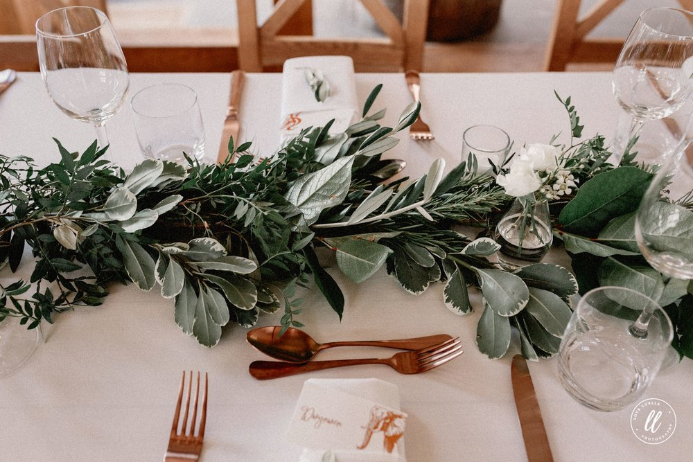 Rose Gold And Greenery Table Dressing
