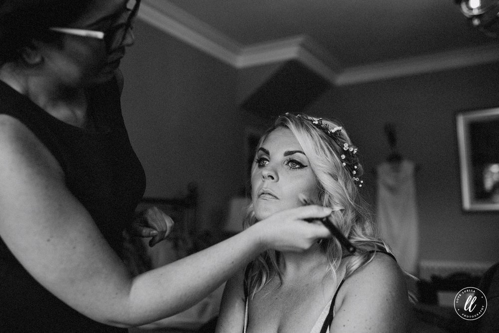Makeup Application At A Tower Hill Barns Wedding