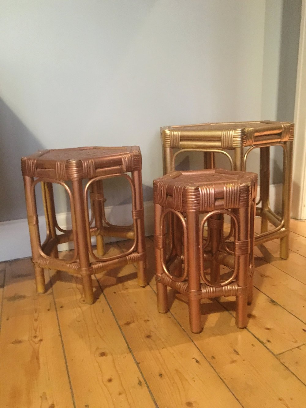 Spray painted vintage rattan nest of tables