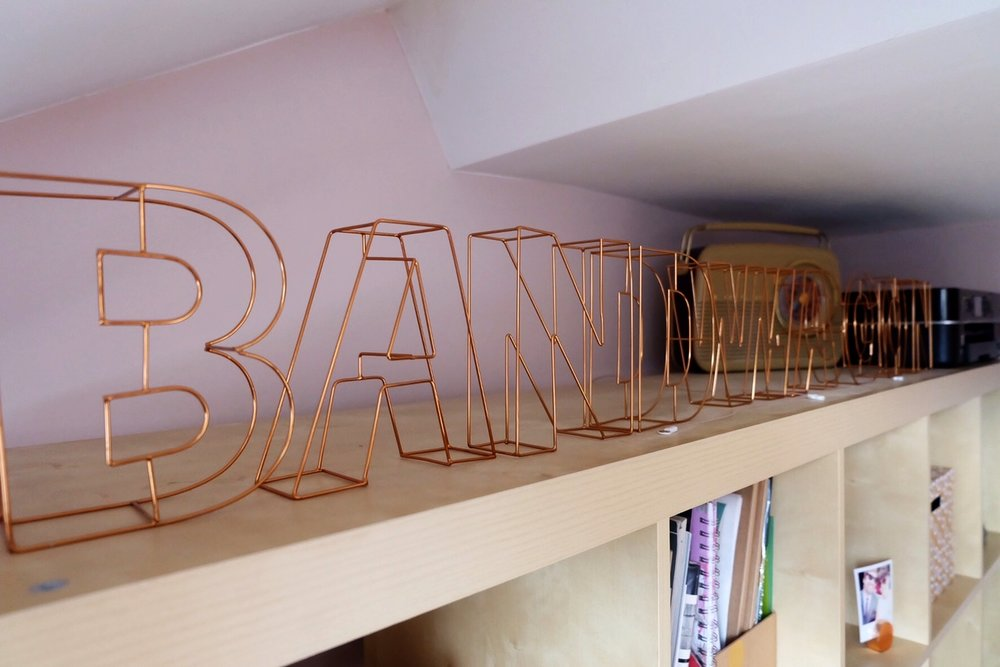 Copper letters in home office