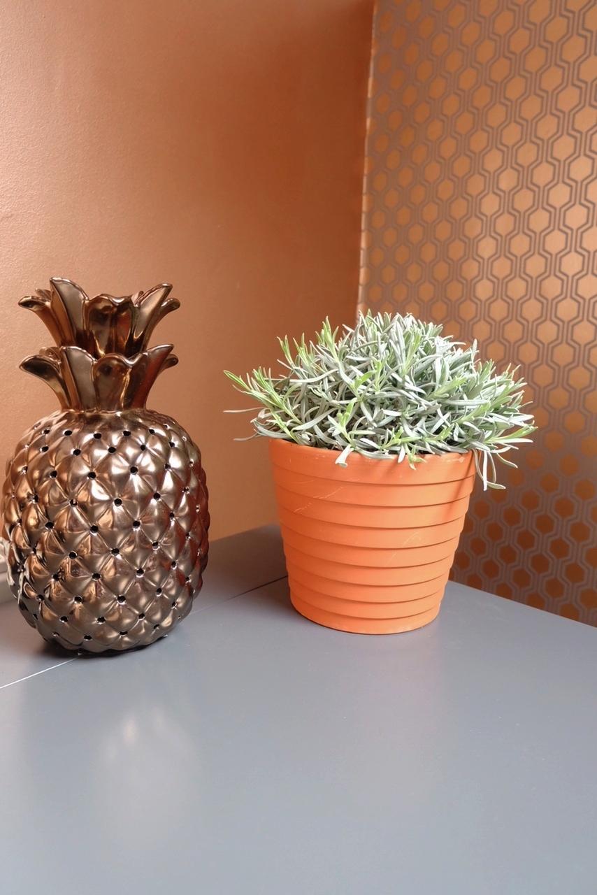 Home office copper walls & geometric wallpaper