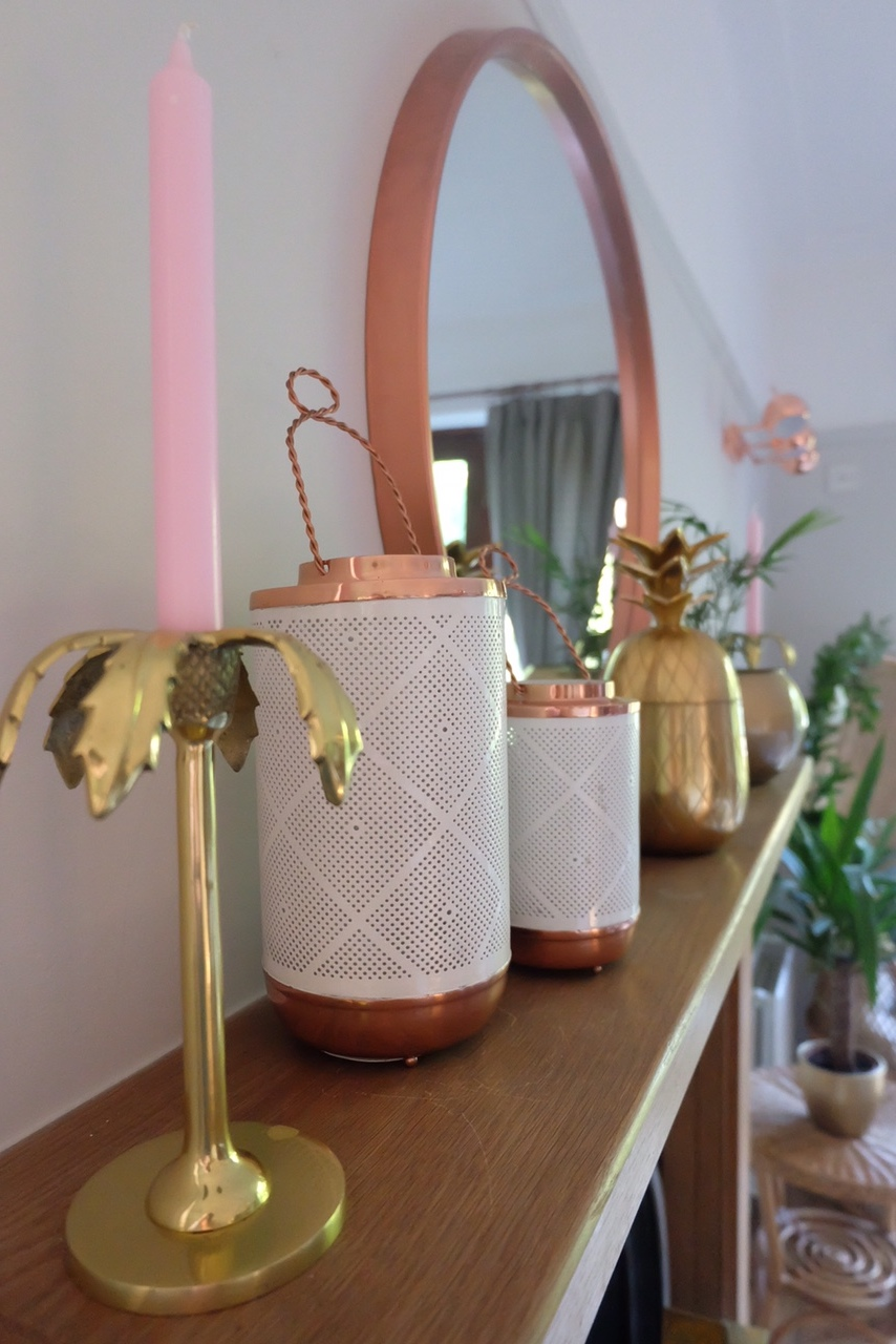Copper and brass metallic accessories