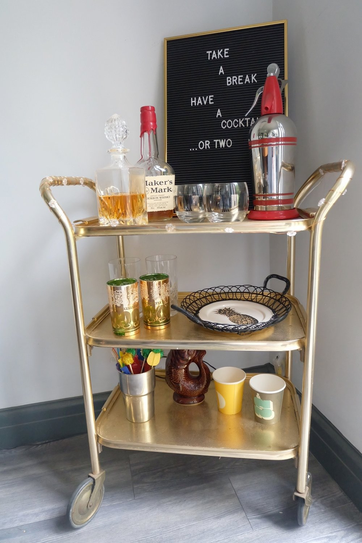 Retro gold bar cart