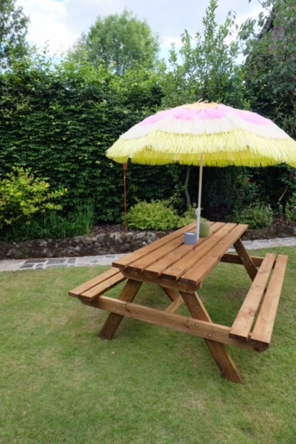 Picnic Bench & Tiki Umbrella