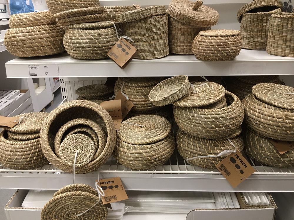 Ikea rattan baskets