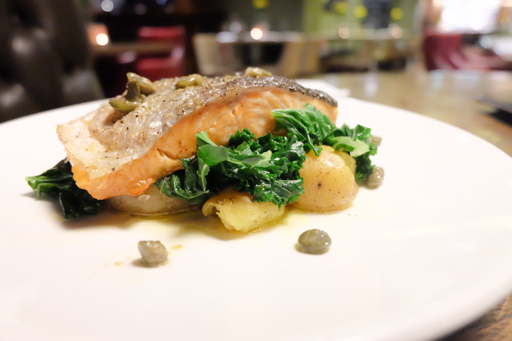 Salmon with caper butter sauce