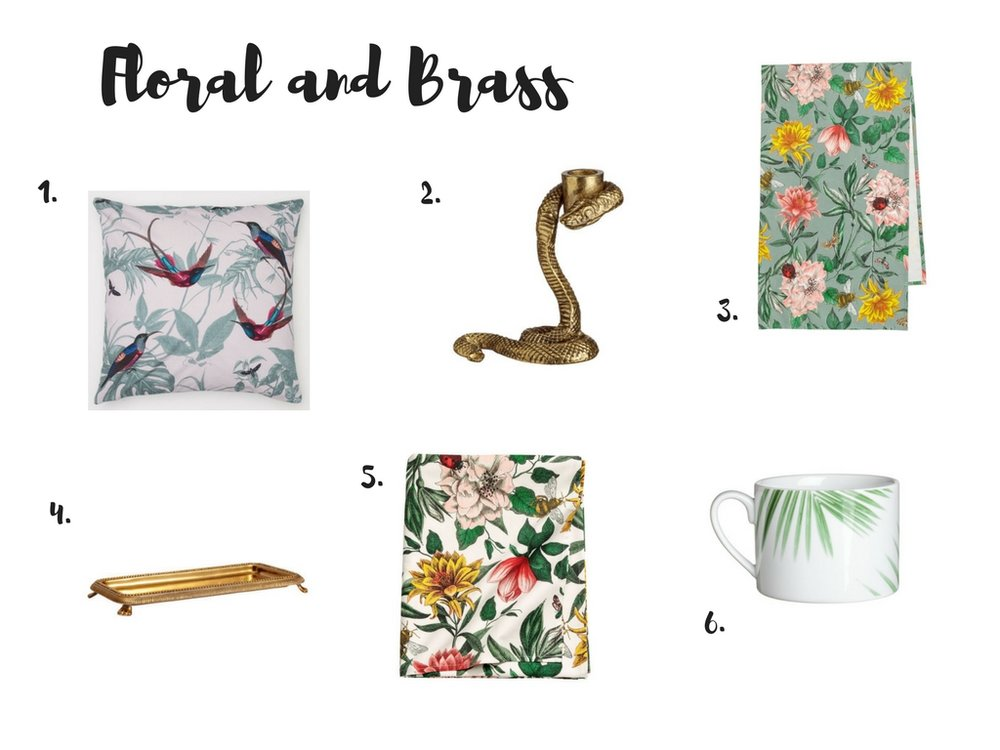 Floral and brass homeware