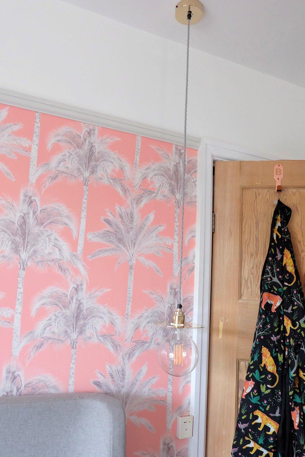 Tropical & brass bedroom