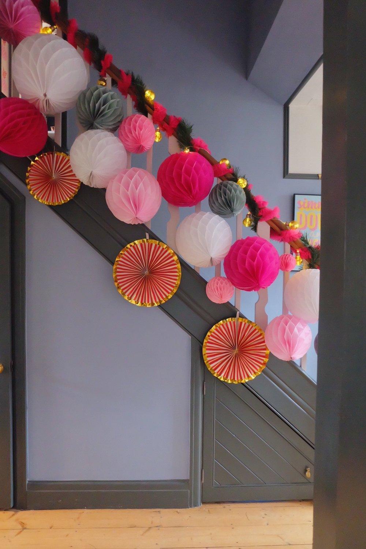Festive pom pom staircase