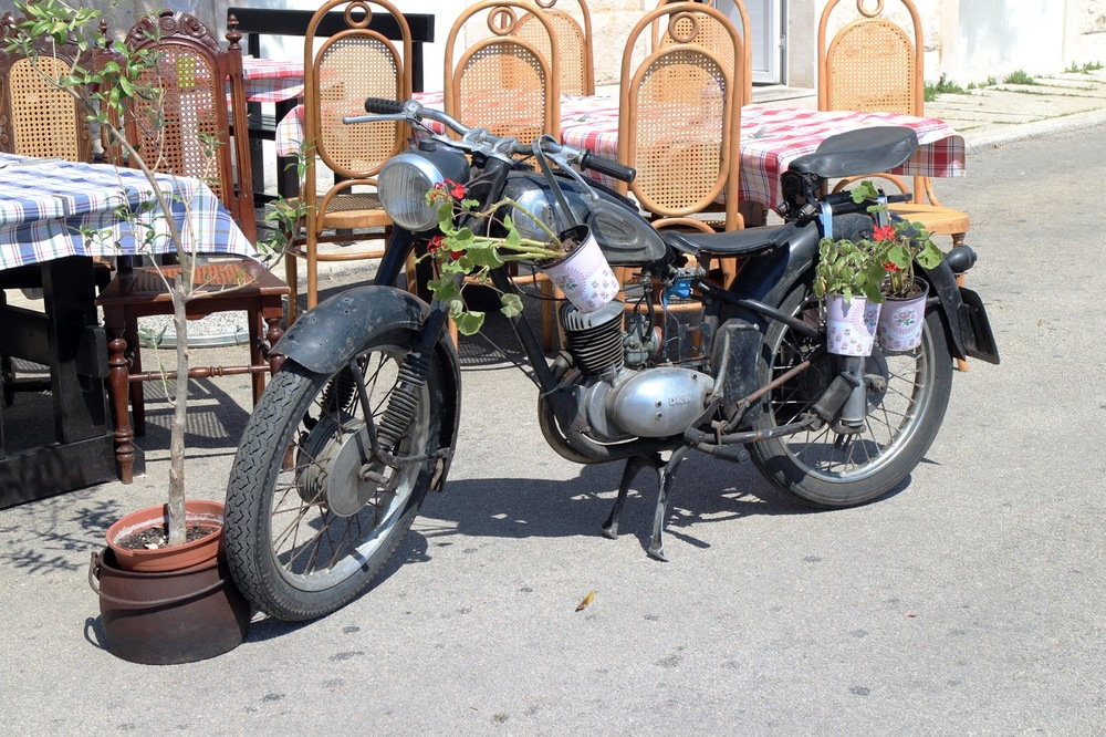 flowers on motorbike