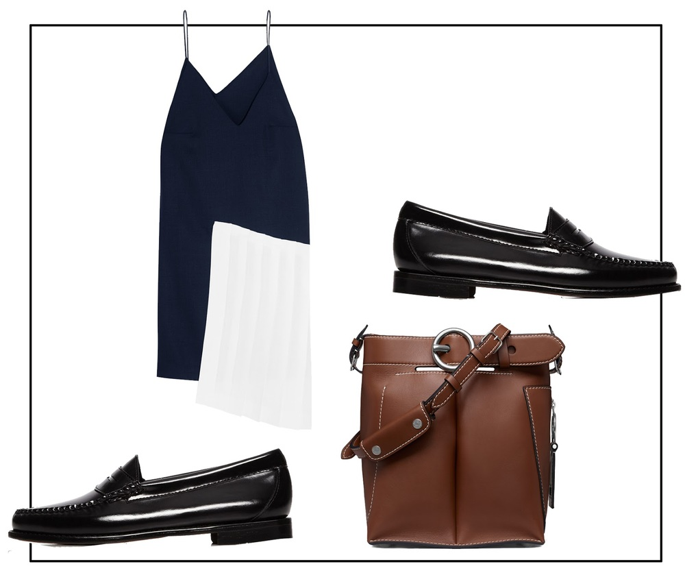 Jacquemus dress, Weejuns loafers and Acne Studios bag