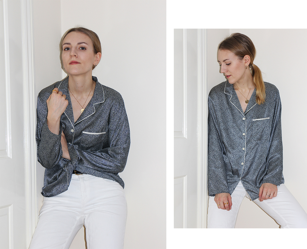 beatrice trodden - silk pyjama top and white jeans