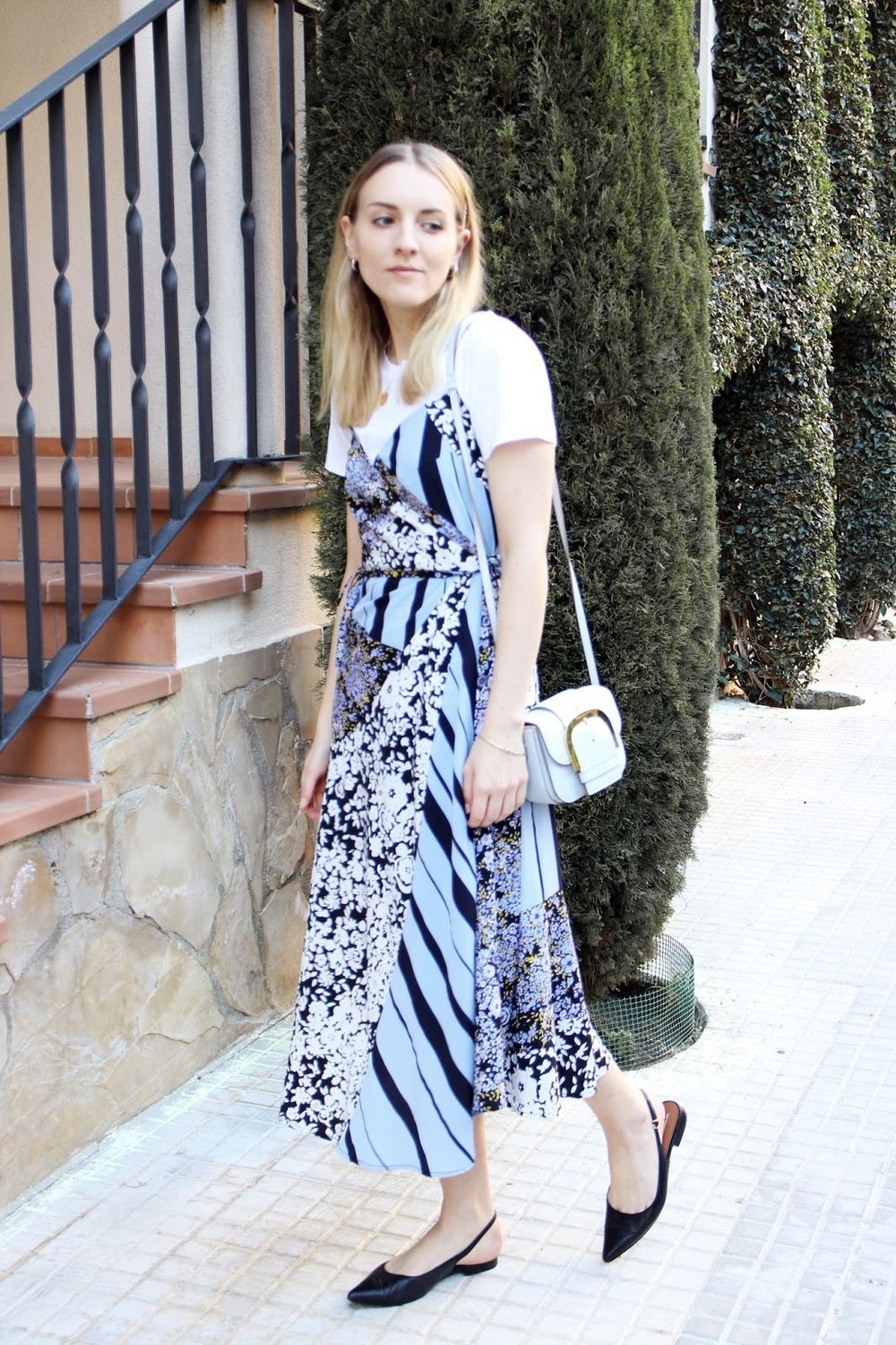 Beatrice Trodden - baby blue french connection dress and stella mccartney bag