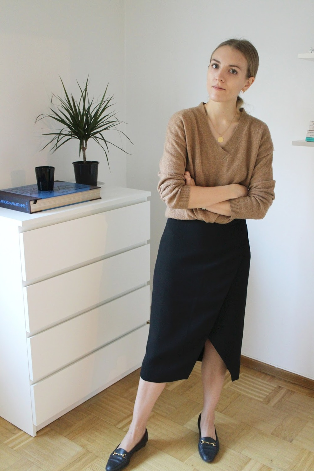 Beatrice Trodden outfit with camel top and & Other Stories pencil skirt and horse bit loafers