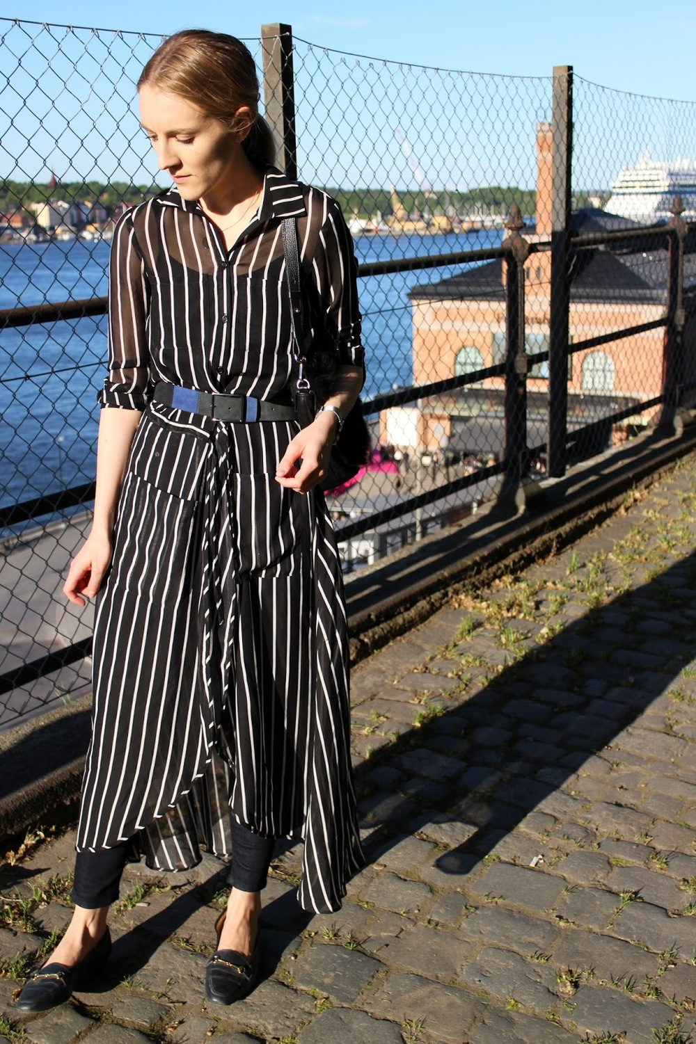 Beatrice Trodden in Acne jeans and Asos shirtdress