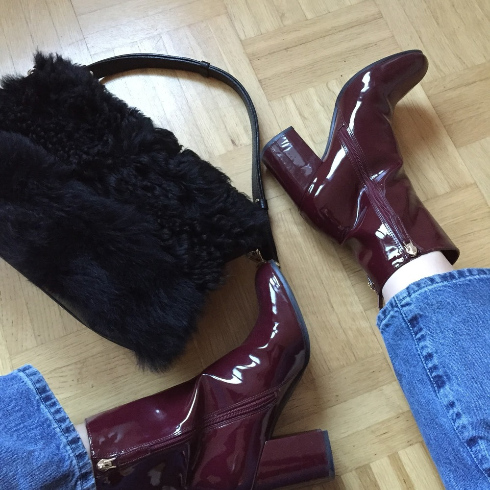 Burgundy Patent Guess Boots