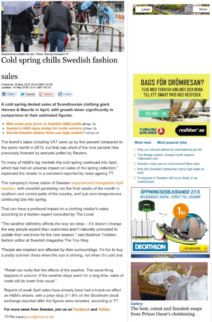 Interviewed on thelocal.se regarding H&M sales results.
