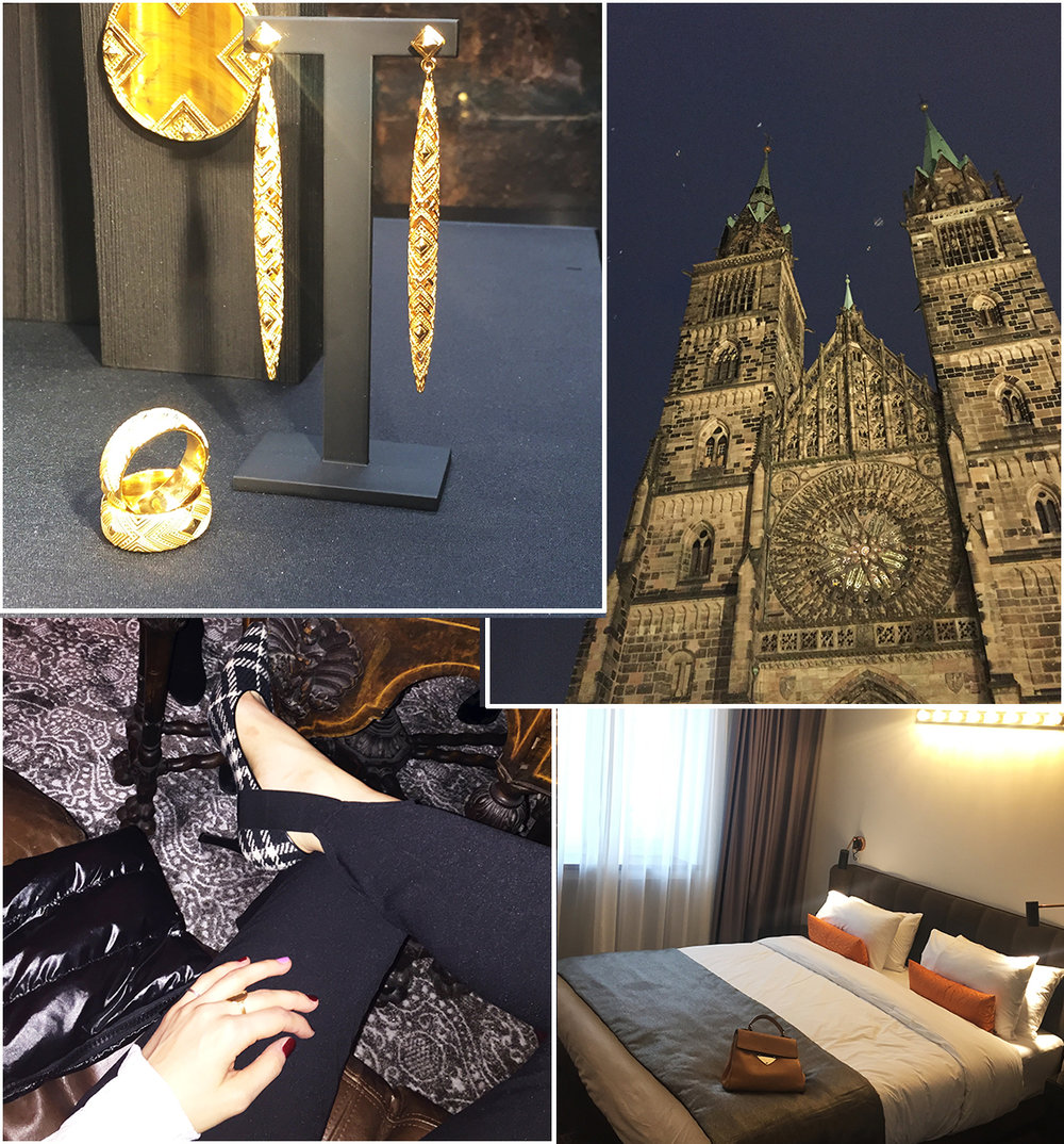 Thomas Sabo earrings || Amazing Nuremburg architecture || Details of my outfit || My hotel room at the Park Plaza Hotel.