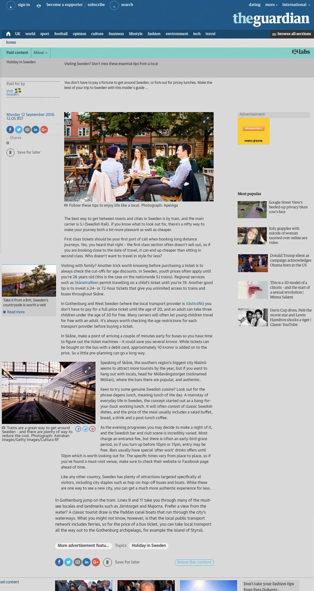 The Guardian x Visit Sweden