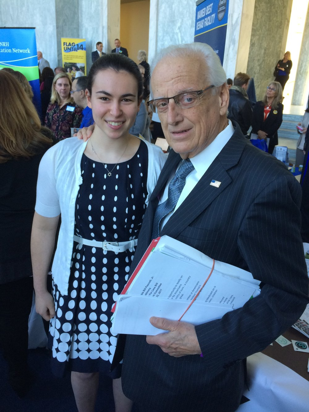 Above, Renberg with Congressman Bill Pascrell (NJ-D) who heads the Congressional Brain Injury Task Force and hosted the day's events.