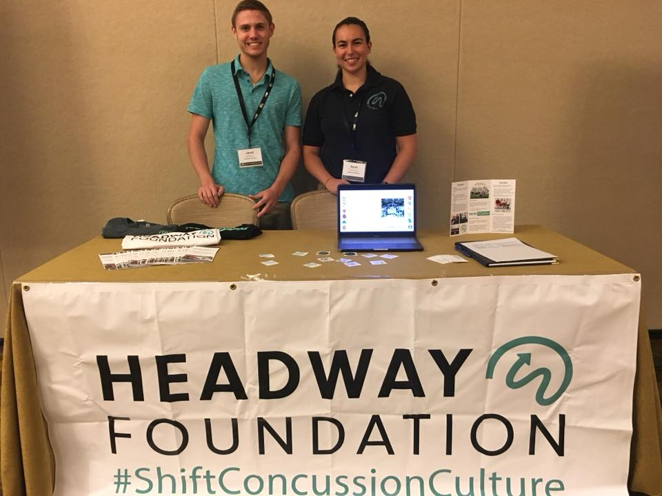 Jared (Headway Intern) with Sarah (Program Development Coordinator) at Headway's table during the Poster Session.