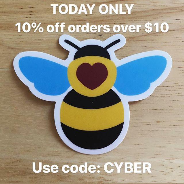 Until midnight EST tonight, get 10% off orders of $10 or more in the Brilliant Botany shop with code CYBER. Link in the bio.  #cybermonday #sale #sciart #stickers #science #savethebees #bees #botany #biology #nature - - [Image: a bumblebee sticker overlaid with the text 'today only 10% off orders over $10. Use code CYBER']