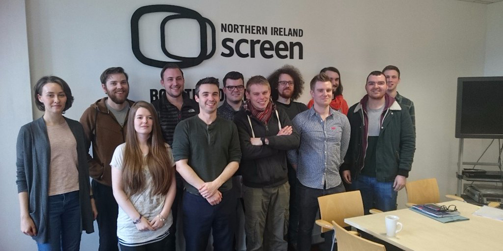From left to right; Back row: Laura Robinson (Black Market), Colin McCusker (Inlifesize), Mark Skelton, Gareth Grey (Iglu Media), Benjamin Donoghue (Blackstaff Games), Timothy Cartright, Jonny Shields Front row: Chloe Gowdy, Stephen Downey (Outsider Games), William Barr (BillyGoat Entertainment), David Freebairn, Michael McDonald