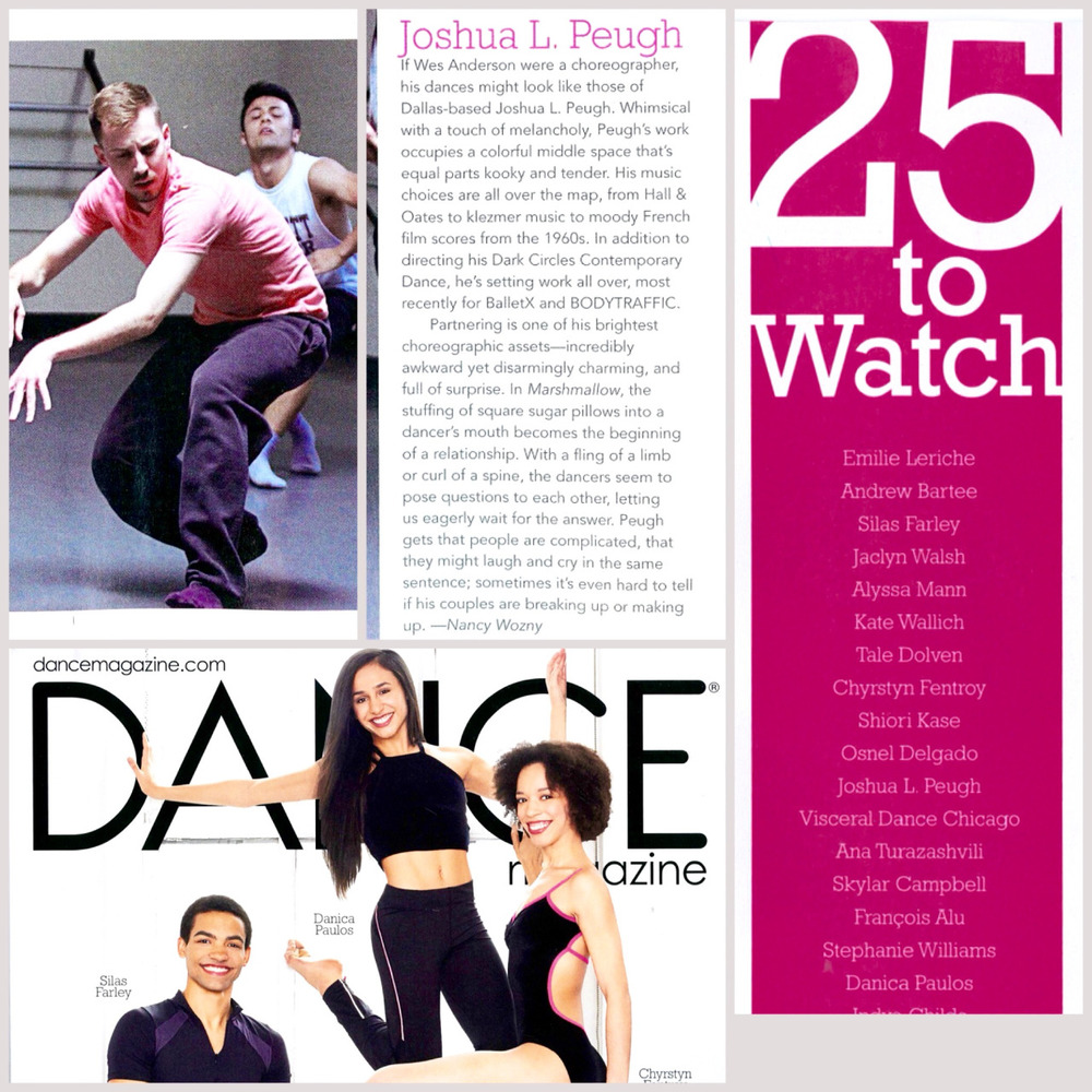 "Our Artistic Director Joshua L. Peugh is featured in Dance Magazine's ""25 to Watch"" for 2015!"