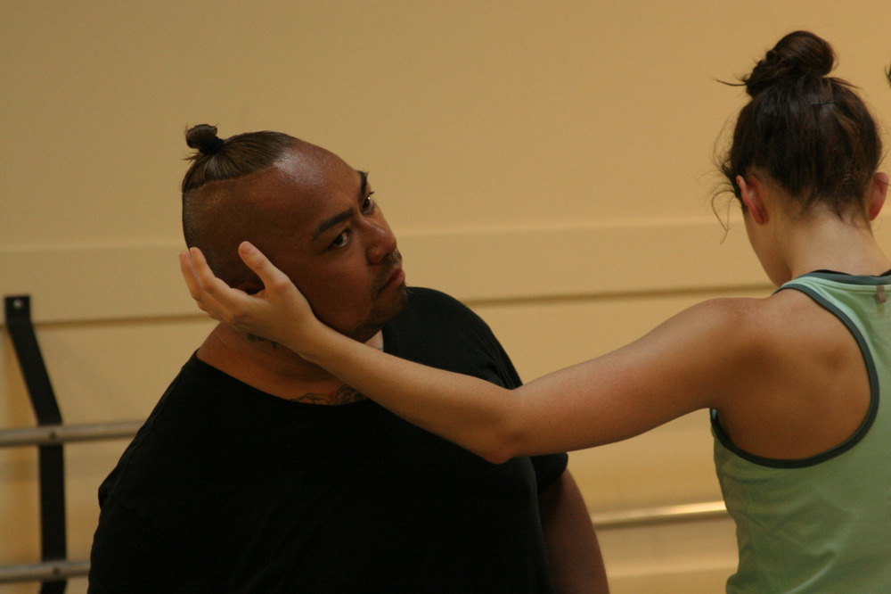 Dancer Emily Bernet and visiting choreographer Mike Esperanza in rehearsal