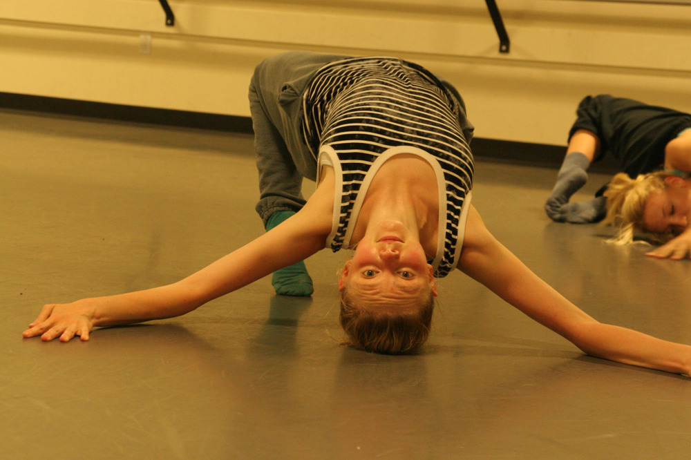 Dancer Kelsey Rohr rehearsing Chadi El-Khoury  's ' Words in Motion ' for our Fall Series at the Sanders Theatre   September 4-6, 2014