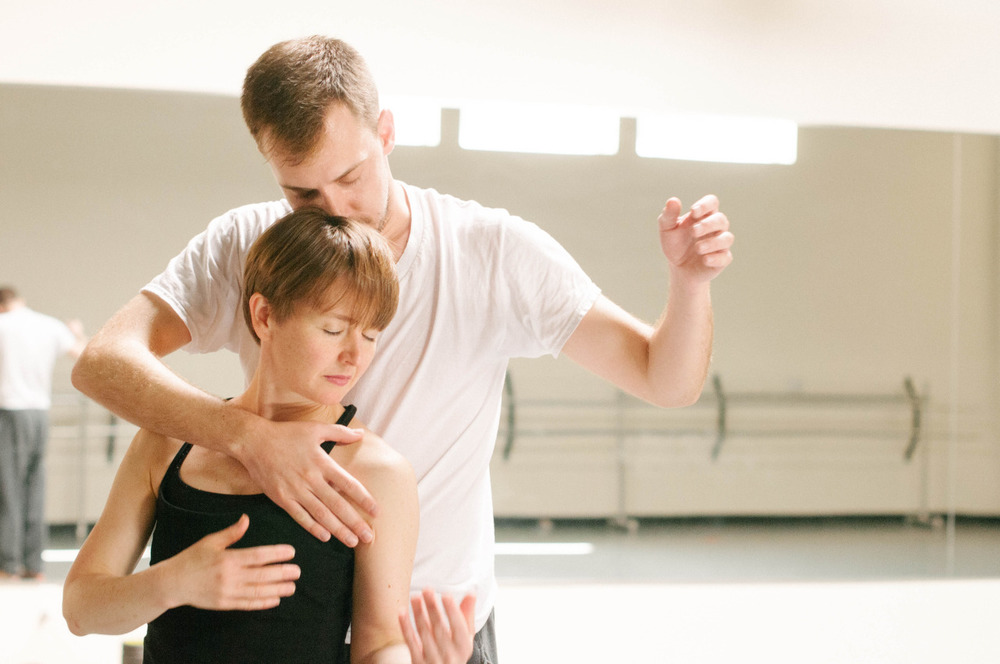 Dancer Jennifer Mabus & Artistic Director Joshua L. Peugh rehearsing 'Marshmallow'    Photo by Sarah Carpenter